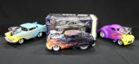 Muscle Machines 1:18 Scale Diecast, Includes M2 Z-28 Camaro, '57 Chevy Bel Air, Willys Coupe, And Fo...