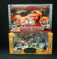 Von Dutch Kustom Cycles Dragnut 1:10 Scale Diecast Motorcycle And Arlen Ness 1:10 Diecast Replica Mo...