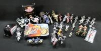Collection Of Motorcycle Figurines, Wall Plates, Card Set And More, Total Qty 32, 1 Figure With Dama...