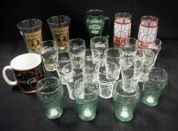 Coca Cola Glassware, Includes, Libbey 6 oz 12 Piece Set, 4 6 oz Green Ripple Glass Tumblers, 2 Stain...