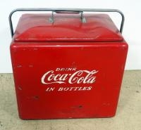 Vintage Metal Coca-Cola Insulated Ice Chest/ Cooler, With Attached Bottle Opener, 17