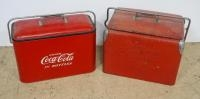 Two Vintage Metal Coca-Cola Insulated Coolers, Both With Bottle Openers, 13