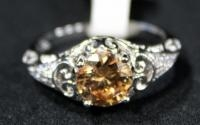 Sterling Silver Ring, Size 10, With Amber Stone