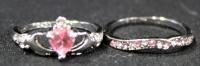Two Sterling Silver Rings, Size 9 1/2, With Pink And Clear Stones
