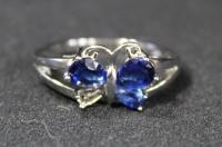 Sterling Silver Ring, Size 10.5, With Blue Stones In Butterfly Setting, 1 Stone Missing