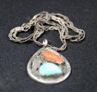 Sterling Silver Necklace With Coral Colored And Turquoise Colored Stones