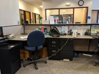 Cubicle Work Station With Four Filing Cabinets