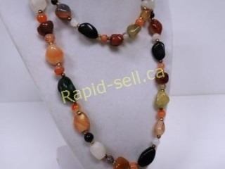 Semi-Precious Polished Natural Stone Necklace &