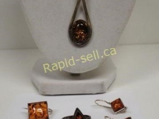 Potpourri of Amber Set in Sterling Silver