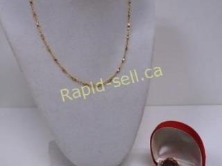 Amethyst Ring & Monel Gold Chain