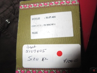Dept Pants - Size XL - BID PRICE IS PER ITEM MUST TAKE 2 TIMES THE MONEY UNRESERVED