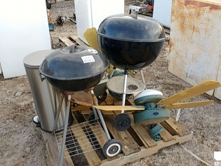 QTY OF (2) CHARCOAL GRILLS, (2) CEILING FANS, STAINLESS STEEL
