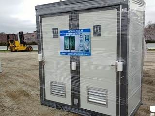 (UNUSED) BASTONE 110V, 2 STALL, PORTABLE RESTROOM W/SINK