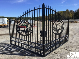(UNUSED) GREATBEAR 14FT BI-PARTING WROUGHT IRON GATE W/DEER ARTWORK IN