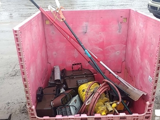 CHAIN HOIST, LIGHTS, (2) RAKES, POLE SAW