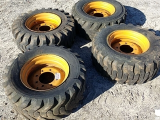 QTY OF (4) SKIDSTEER TIRES, SIZE: 12-16.5