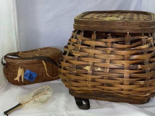 Large Wicker basket and Fishing and Net basket