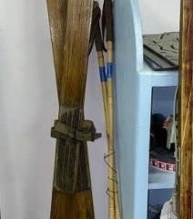 Vintage Snow Skis and Poles.