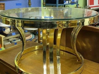 Metal Table w/ Glass Top