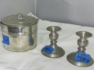 Pewter Candelabras and Tin Bin