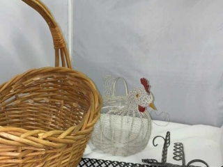 Retro Wire Sconce, Wire Chicken, and Wicker Basket