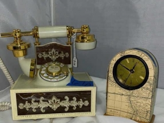 Vintage Rotary Dial Phone and Clock