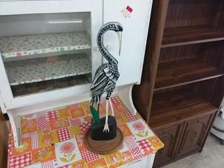 Hand Carved Stork Wood Sculpture