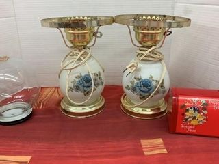 Pair of Floral Lamps - no Shades- Rose