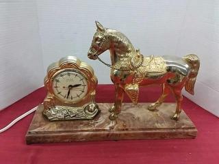 Antique Electric Mantle Horse Clock