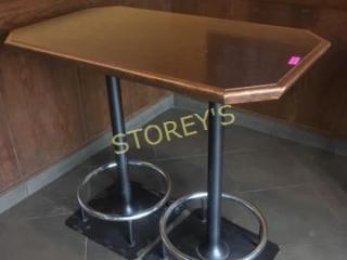 28 x 48 Dbl Pedestal Bar Table w  Heavy