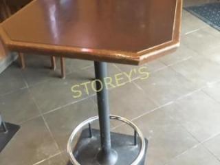 24 x 24 Bar Table w  Heavy Foot Rail Base