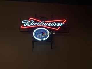 Illuminated Budweiser   Blue Jays Sign