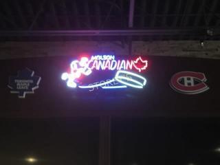 Illuminated Molson Canadian Hockey Sign