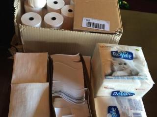 BOX lOT  Napkins  Napkin Tapes  Receipt Rolls