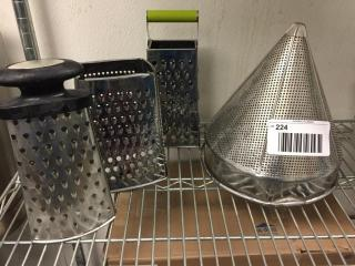lOT  Graters   Cone Strainer