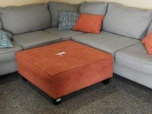 Lot # 1577 - Gray wrap around sofa with burnt