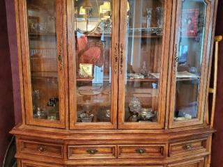 Hibriten BernHardt Curio Cabinet. with Vintage Handles and Lower Storage . 2 pieces.with Top Light CONTENTS NOT INCLUDED