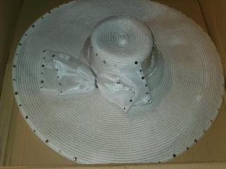 Collectible Donna Vincini White Jeweled Hat