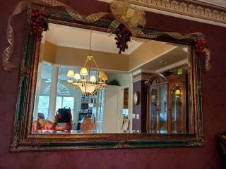Gilded Wall Mirror with Crackle Painted Trim.