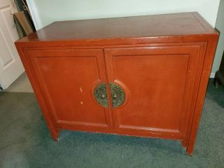 Cherry Red Record Cabinet / Bar with Detailed Brass Handles