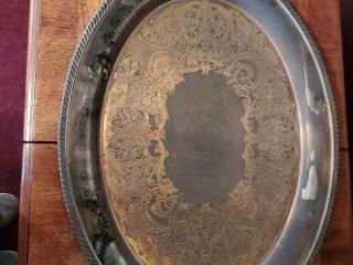 Silver Oval Platter with Handles and Detail Etching