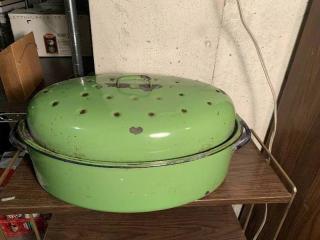 Green Enamel Turkey Roaster Pan
