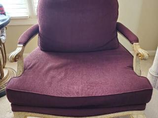 Burgandy Lounge Chair with Crackle Paint Trim
