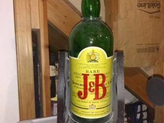 J&B Rare Scotch Bottle and Stand