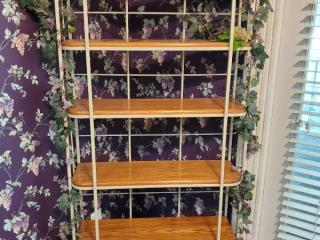 Iron Bakers Rack with 6 Tier Wooden Shelves