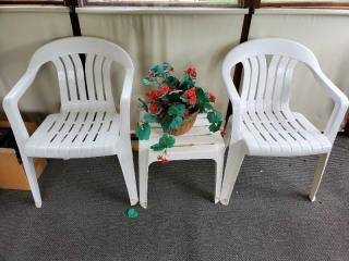 Outside Lawn Chairs with Side Table and Fake Plant