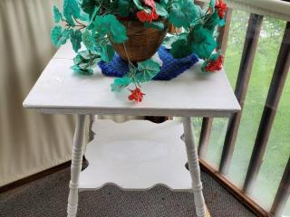 Vintage White Table with Lower Shelf and Grey Feet. Fake Plant INCLUDED