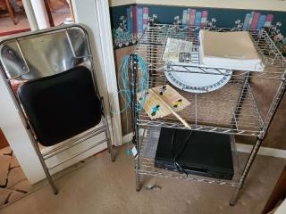 3 Tier Metal Shelf and Metal Folding Chair with Black Seat. CONTENTS NOT INCLUDED