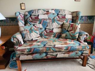Book Fabric Lounge Bench. with 2 Pillows and Wooden Frame
