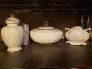 Lot of Unmarked White Kitchenware with Miniature Anniversary Clock